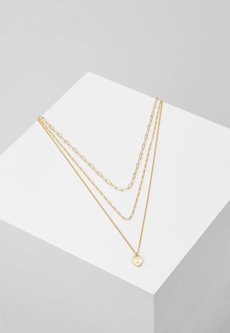 Orelia - HEART PADLOCK CHAIN LAYERED 3 PACK - Necklace - pale gold-coloured