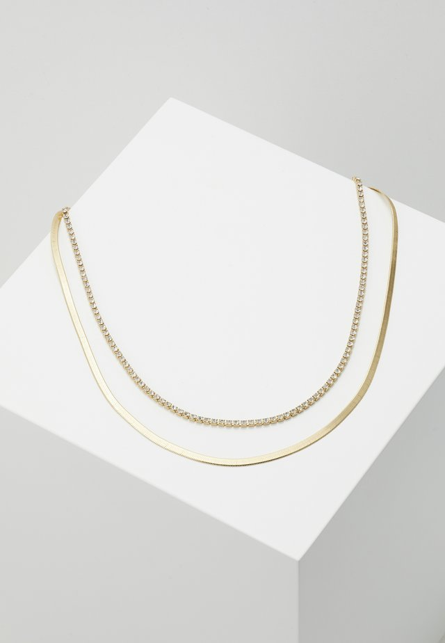 CUPCHAIN FLAT SNAKE CHAIN 2 ROW - Necklace - pale gold-coloured