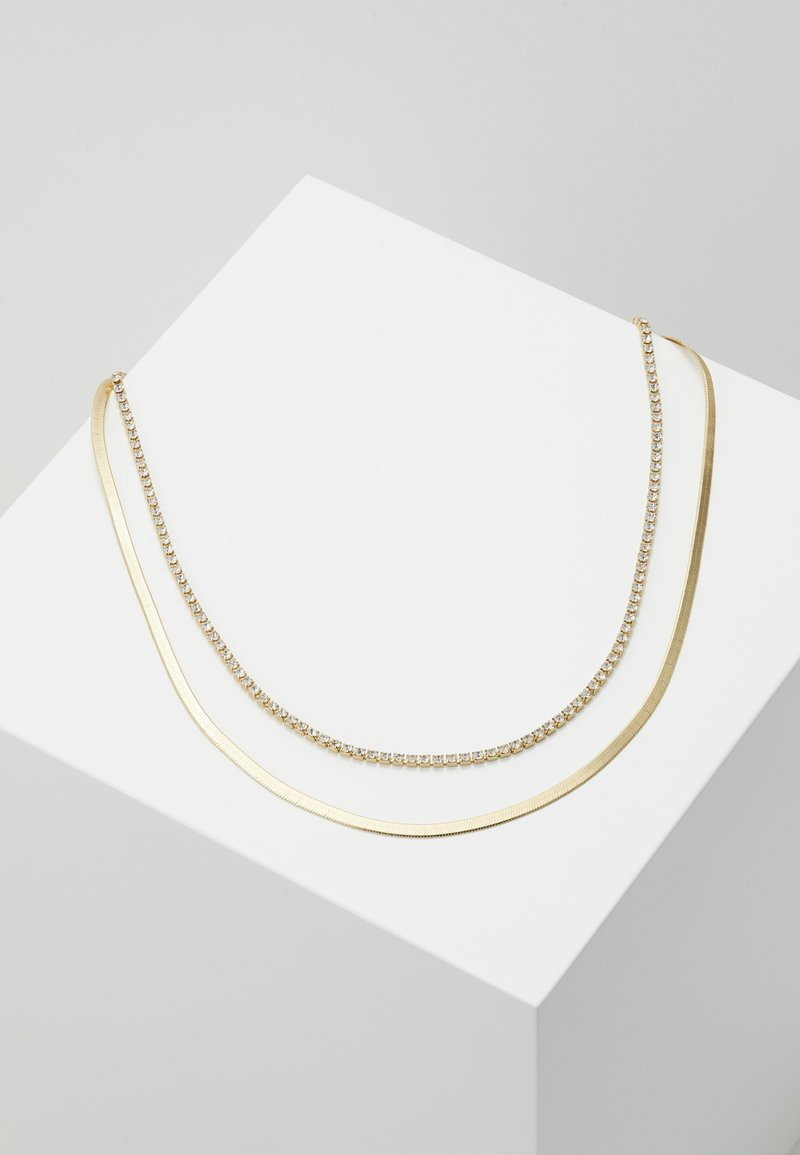 Orelia - CUPCHAIN FLAT SNAKE CHAIN 2 ROW - Necklace - pale gold-coloured