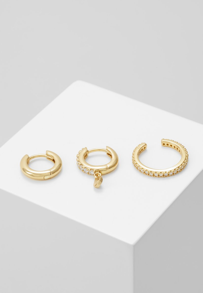 Orelia - LUXE DISC DROP HUGGIE PAVE CUFF EAR PARTY 3 PACK - Náušnice - pale gold-coloured