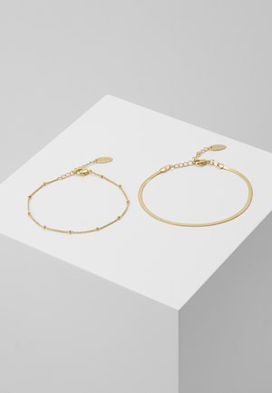 SATELLITE AND FLAT CURB CHAIN BRACELET 2 PACK - Náramek - gold-coloured