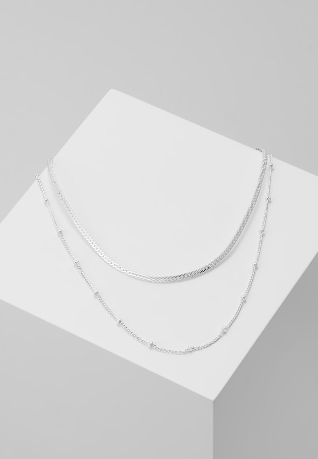 SATELLITE AND FLAT CURB CHAIN 2 PACK - Halsband - silver-coloured