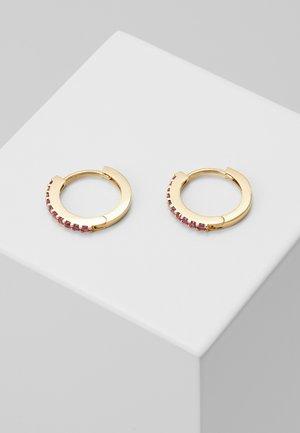 MINI PAVE HOOP EARRINGS - Earrings - pale gold-coloured