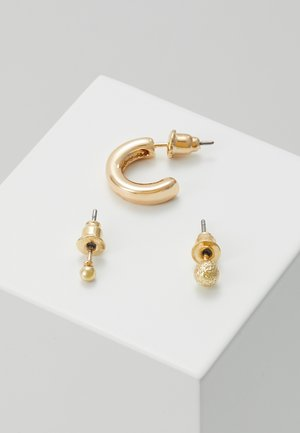 SIMPLE STUDS HOOP EAR PARTY 3 PACK - Øredobber - pale gold-coloured
