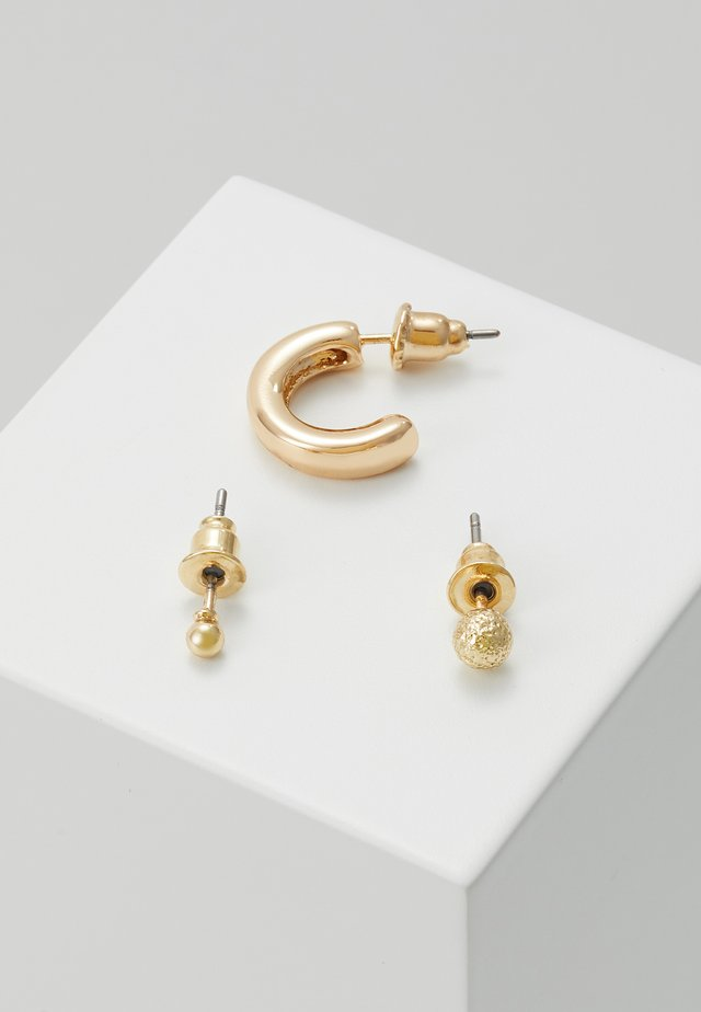 SIMPLE STUDS HOOP EAR PARTY 3 PACK - Korvakorut - pale gold-coloured