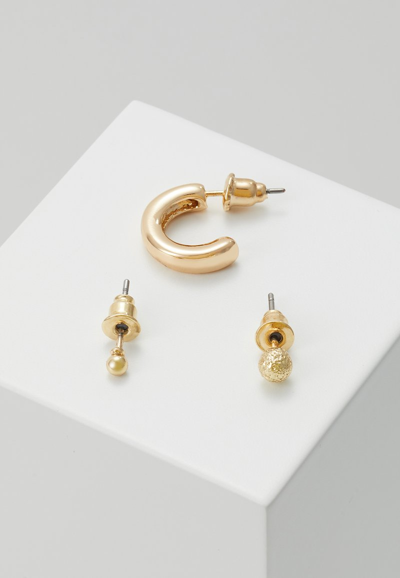 Orelia - SIMPLE STUDS HOOP EAR PARTY 3 PACK - Náušnice - pale gold-coloured