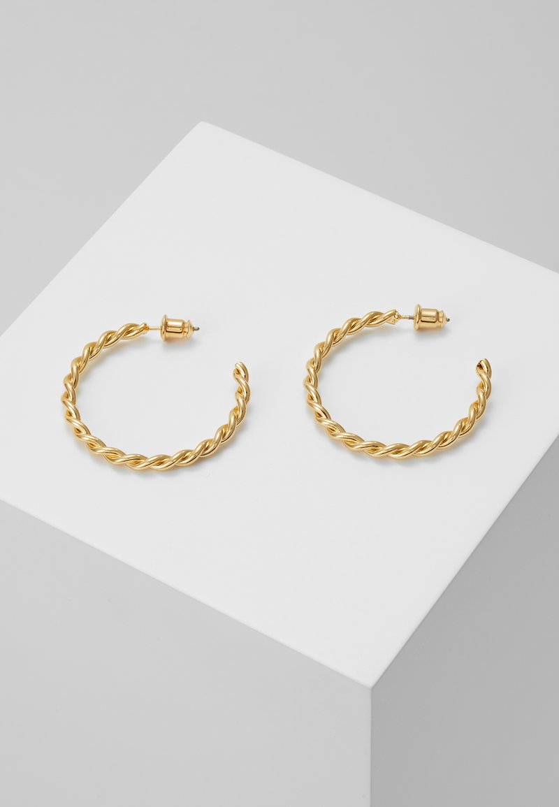 Orelia - CHUNKY TWIST HOOP EARRIGS - Oorbellen - pale gold-coloured