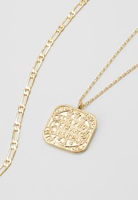 Orelia - SQUARE COIN CHAIN ROW NECKLACE 2-IN-1 - Halskæder - pale gold-coloured - 2