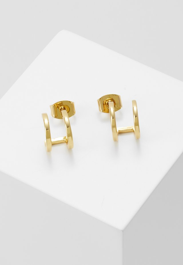 DOUBLE HUGGIE PLAIN STUDS - Korvakorut - pale gold-coloured