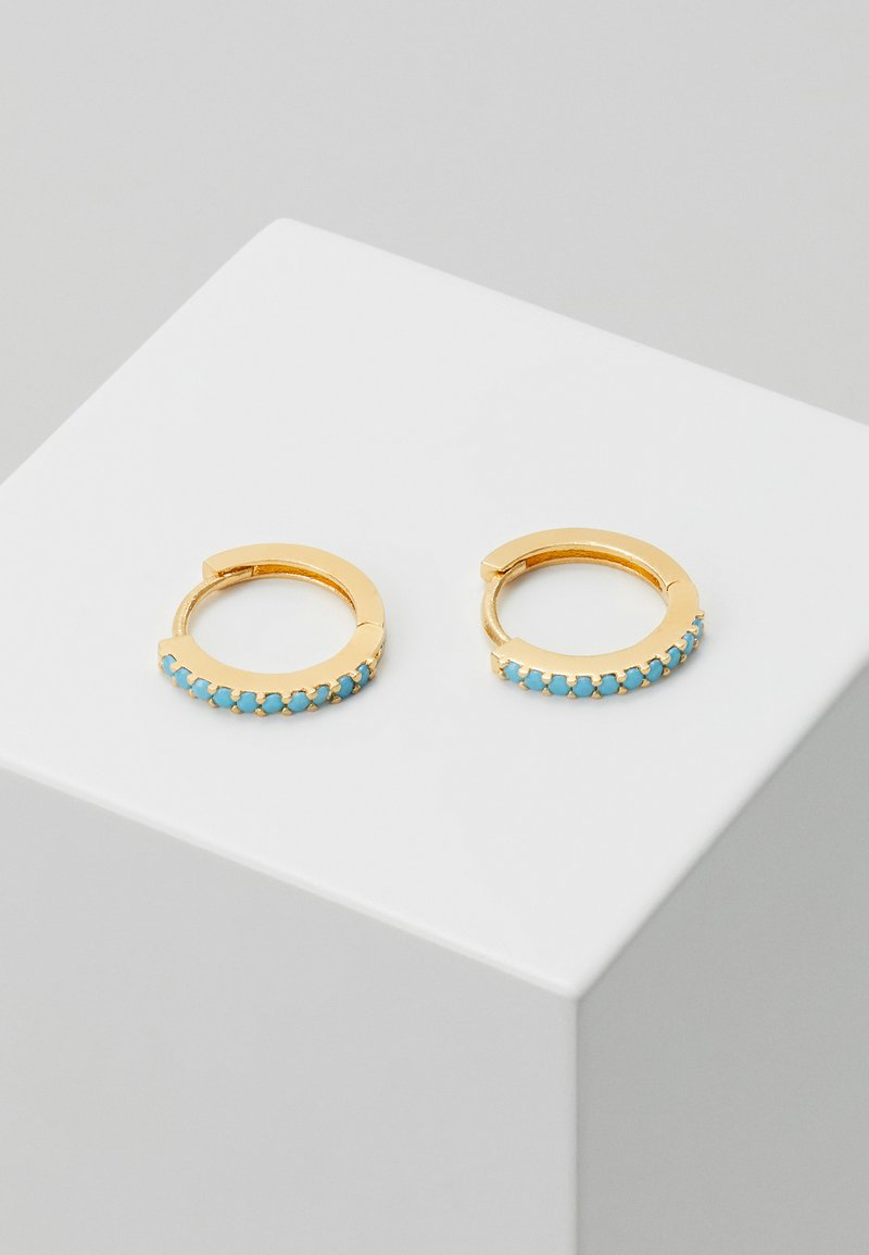 Orelia - MINI PAVE HOOP EARRINGS - Earrings - turq