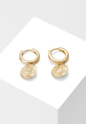 MOLTEN COIN HUGGIE HOOPS - Earrings - pale gold-coloured