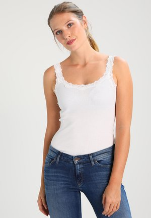 SILK-MIX TOP REGULAR W/REV VINTAGE LACE - Top - new white