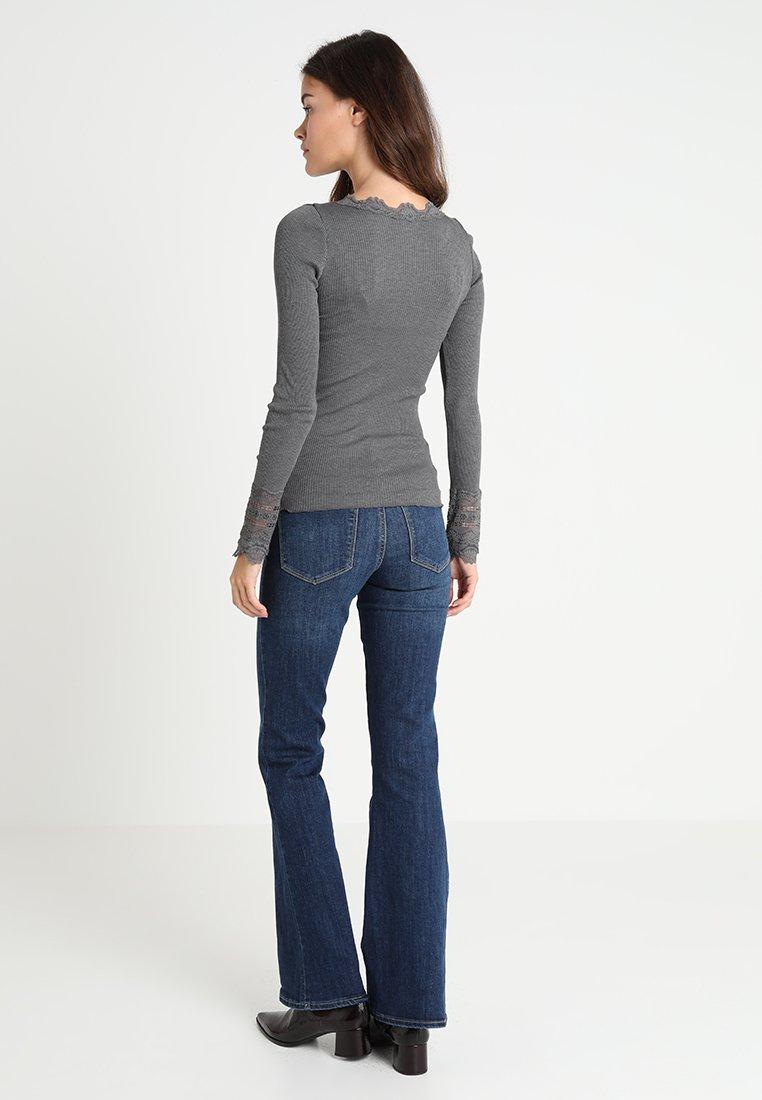 Rosemunde SILK-MIX T-SHIRT REGULAR LS W/WIDE LACE - Topper langermet - dark grey melange