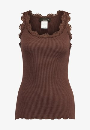 SILK-MIX TOP REGULAR W/VINTAG LACE - Top - chestnut red