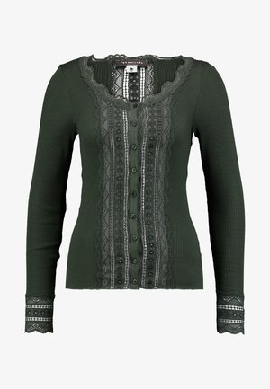 SILK-MIX CARDIGAN REGULAR LS W/WIDE LACE - Kardigan - olive