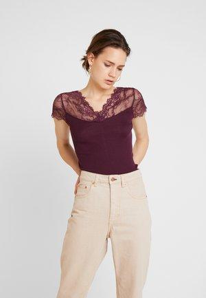 SILK-MIX T-SHIRT WITH LACE - T-shirt print - bourgogne