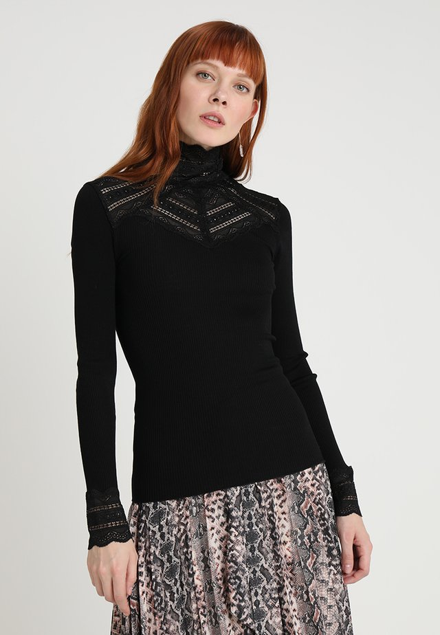 SILK-MIX T-SHIRT TURTLENECK REGULAR LS W/WIDE LACE - Long sleeved top - black