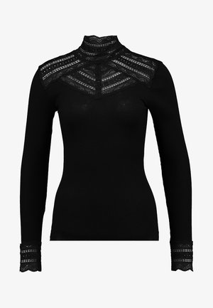 SILK-MIX T-SHIRT TURTLENECK REGULAR LS W/WIDE LACE - Top s dlouhým rukávem - black