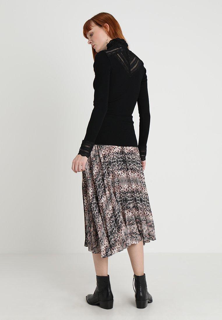 Rosemunde SILK-MIX T-SHIRT TURTLENECK REGULAR LS W/WIDE LACE - Bluzka z długim rękawem - black