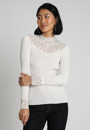 SILK-MIX T-SHIRT WITH LACE - Topper langermet - ivory
