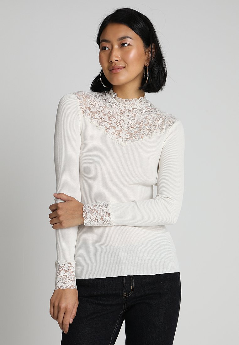 Rosemunde - SILK-MIX T-SHIRT WITH LACE - Topper langermet - ivory