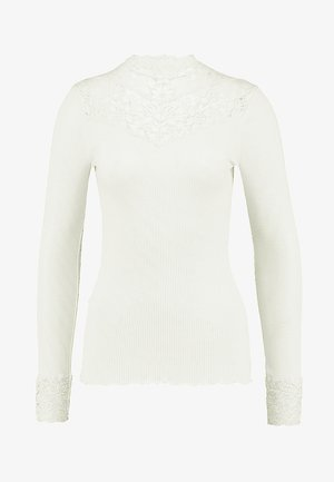 SILK-MIX T-SHIRT WITH LACE - Top s dlouhým rukávem - ivory