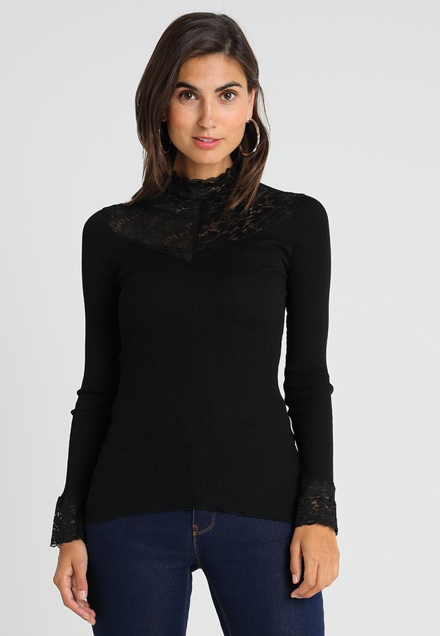 SILK-MIX T-SHIRT WITH LACE - T-shirt à manches longues - black