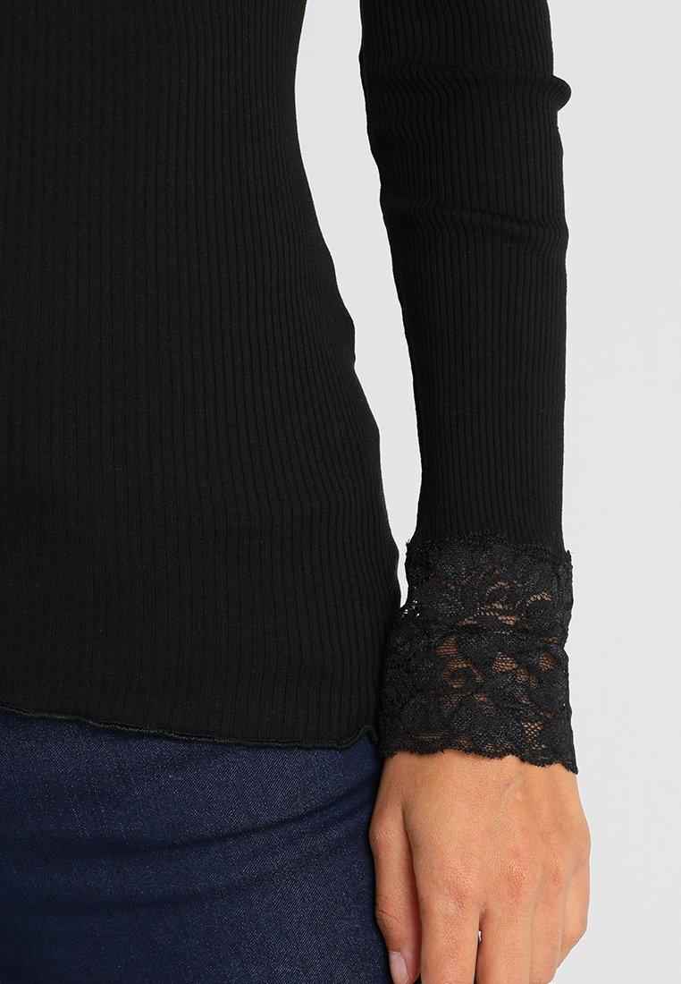 Rosemunde SILK-MIX T-SHIRT WITH LACE - Maglietta a manica lunga - black