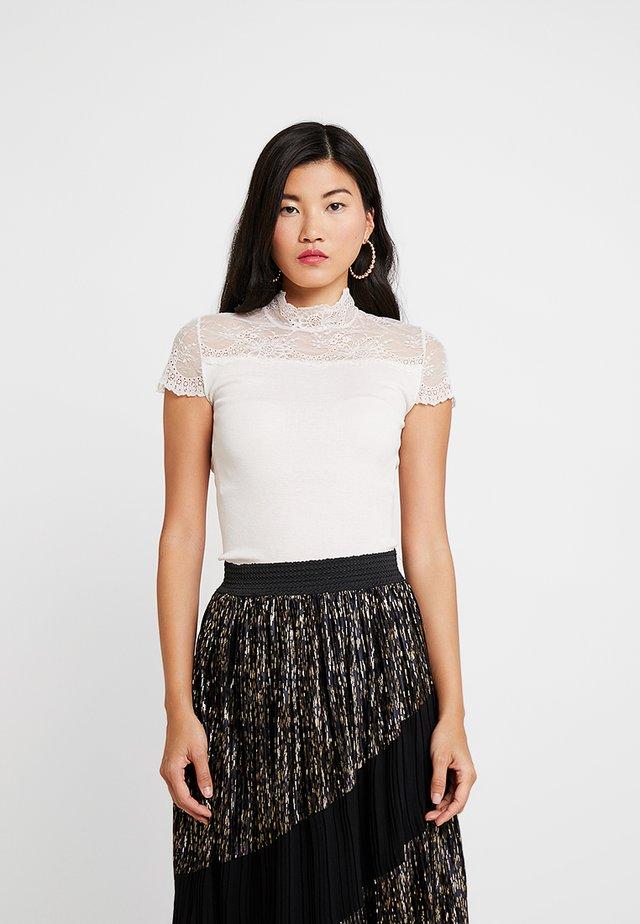 SILK-MIX T-SHIRT TURTLENECK RGULAR W/LACE - T-shirt con stampa - soft power