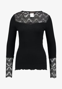 Rosemunde - SILK-MIX T-SHIRT REGULAR LS W/LACE - Top s dlouhým rukávem - black - 3