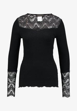 SILK-MIX T-SHIRT REGULAR LS W/LACE - Top sdlouhým rukávem - black