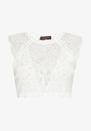 SILK-MIX TOP REGULAR W/LACE - Linne - ivory