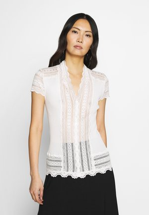SILK-MIX CARDIGAN REGULAR W/WIDE LACE - Bluser - ivory