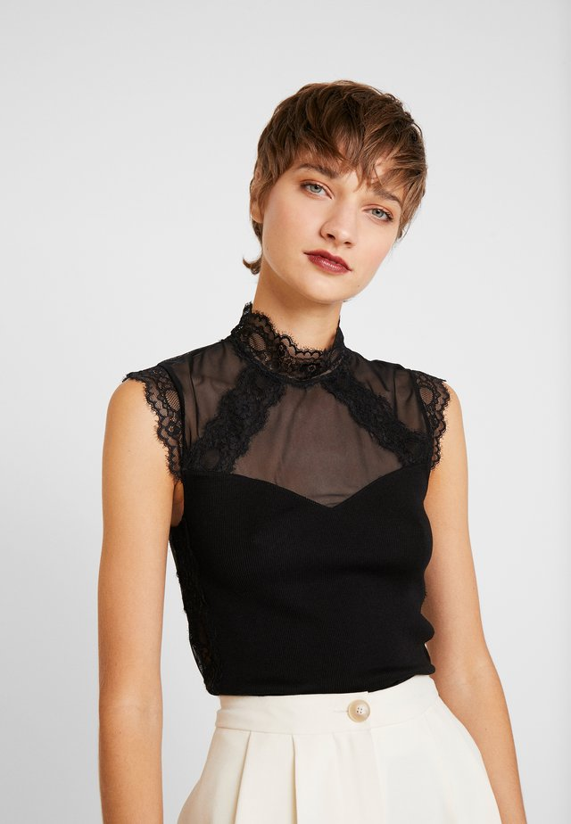 SILK-MIX TOP REGULAR W/LACE - Débardeur - black