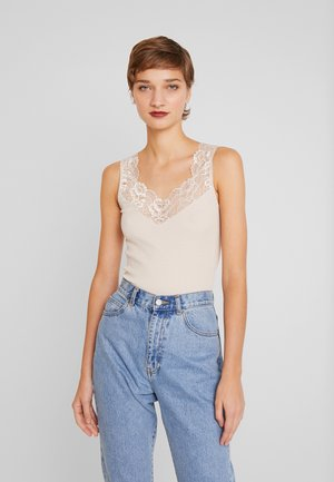 SILK-MIX TOP REGULAR W/LACE - Topper - cacao