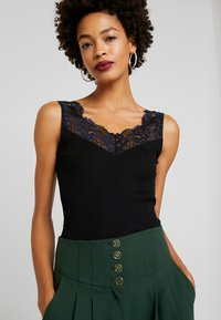 Rosemunde - SILK-MIX TOP REGULAR W/LACE - Topper - black