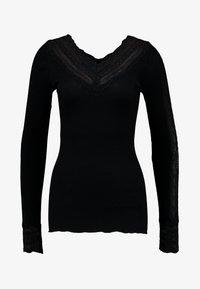 Rosemunde - SILK-MIX T-SHIRT REGULAR LS W/WIDE LACE - Camiseta de manga larga - black - 3