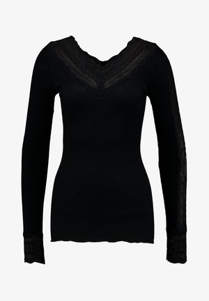 SILK-MIX T-SHIRT REGULAR LS W/WIDE LACE - Longsleeve - black