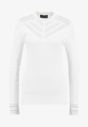 SILK-MIX T-SHIRT REGULAR LS W/WIDE LACE - Longsleeve - new white