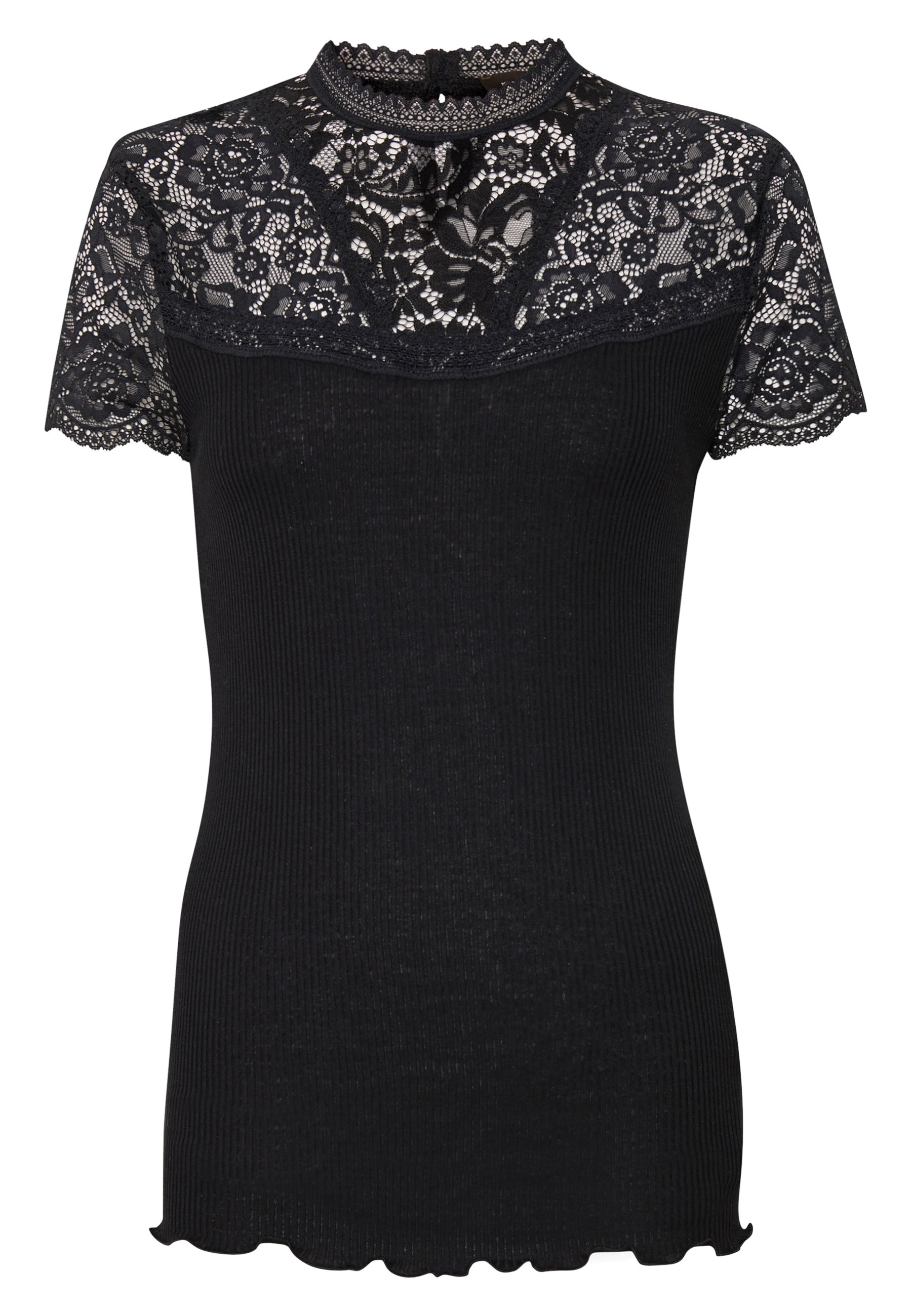Rosemunde Silk-mix T-shirt Turtleneck Regular W/lace - Med Print Black