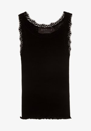 SILK-MIX TOP REGULAR W/LACE - Top - black