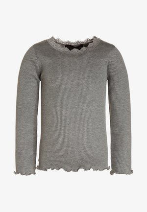 SILK-MIX T-SHIRT REGULAR LS W/LACE - Camiseta de manga larga - light grey melange