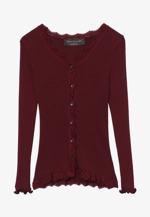 SILK-MIX CARDIGAN REGULAR LS W/LACE - Cardigan - soft wine