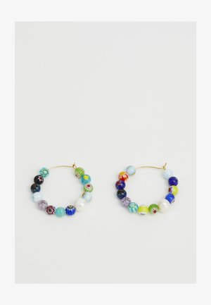 RAINBOW BEAD HOOP EARRING - Earrings - gold-coloured