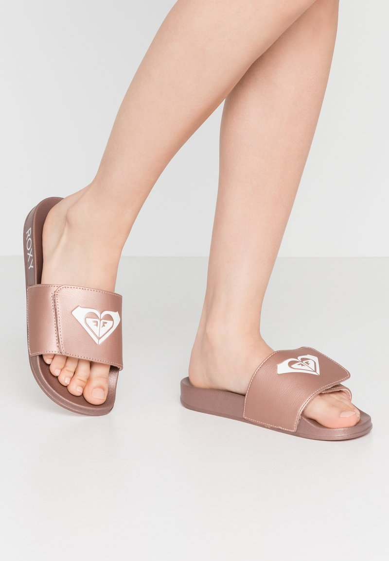 Roxy - SLIPPY SLIDE  - Matalakantaiset pistokkaat - rose gold