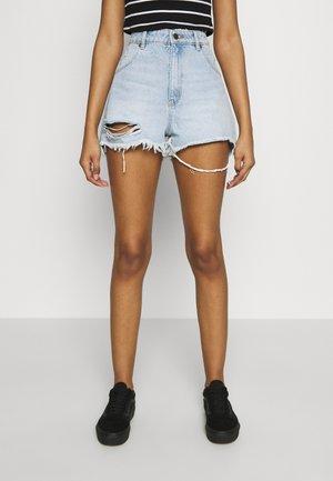 DUSTERS - Denim shorts - bleached denim, destroyed denim