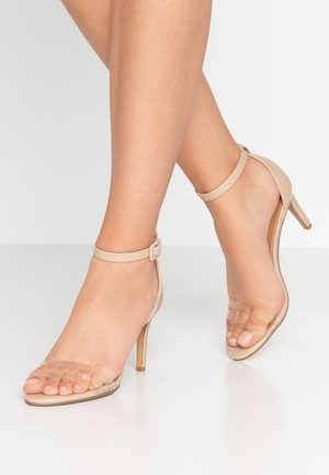 SHARI DOUBLE STRAP STILLETO - High heeled sandals - nude/clear