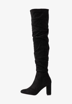 WILLA HEELED SLOUCH BOOT - Kozačky nad kolena - black