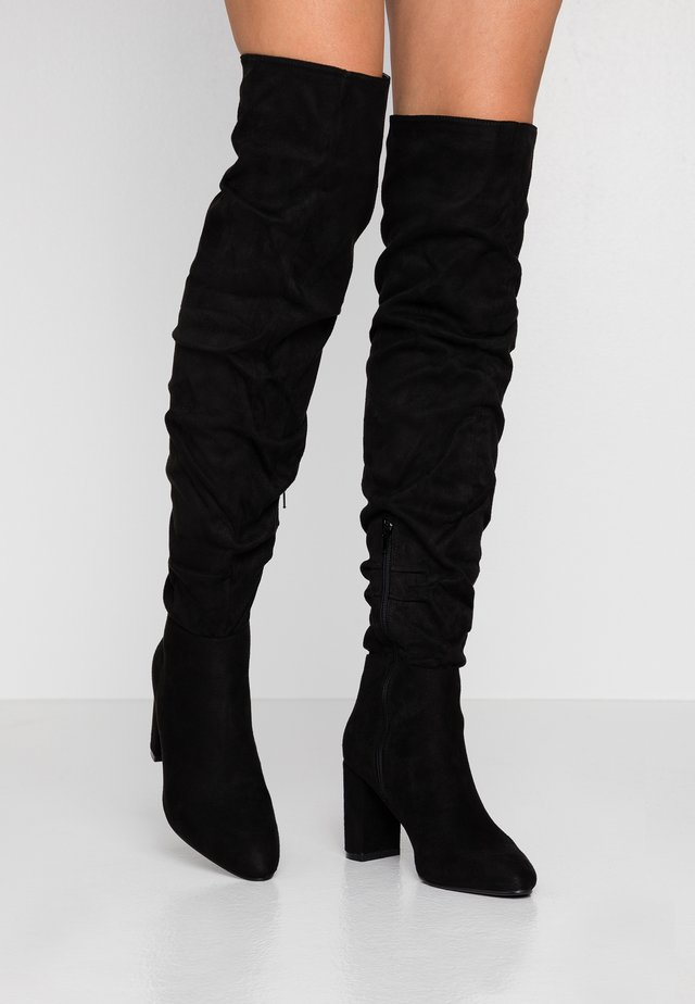 WILLA HEELED SLOUCH BOOT - Overknees - black