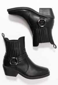 Rubi Shoes by Cotton On - TARA HARNESS SQUARE TOE BOOT - Cowboy/biker ankle boot - black - 3